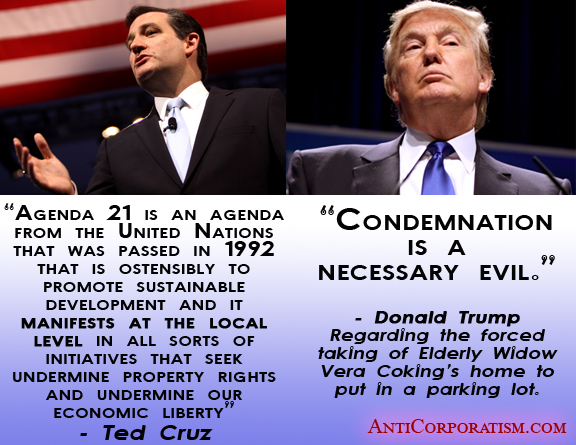 Ted Cruz vs. Donald Trump Property Rights