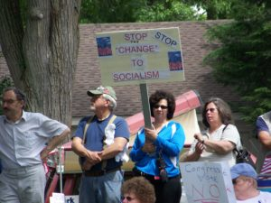tea party protest sign stop the change to socialism