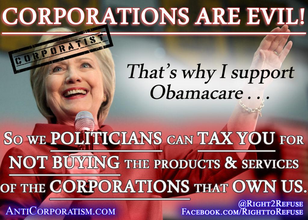 Hillary Clinton Obamacare Coporatist